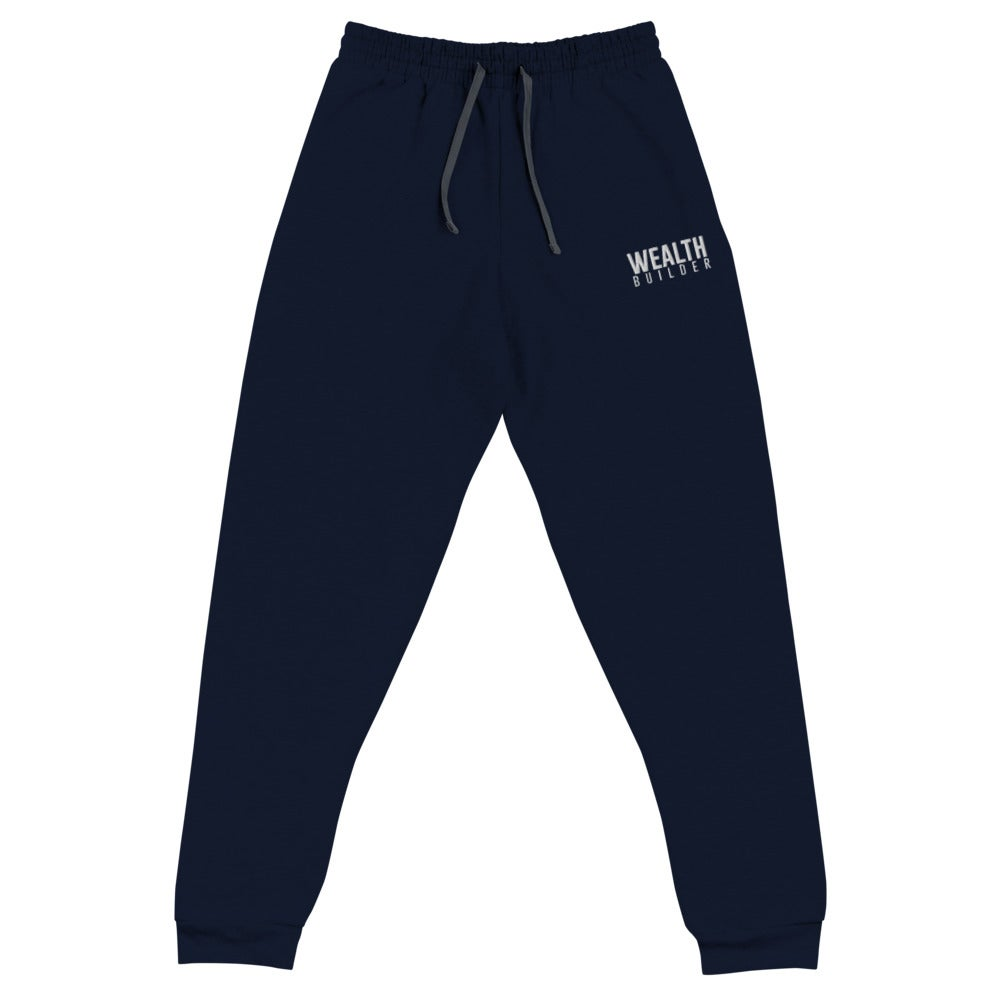 Image of Unisex Wealth Builder Joggers w/ White Writing