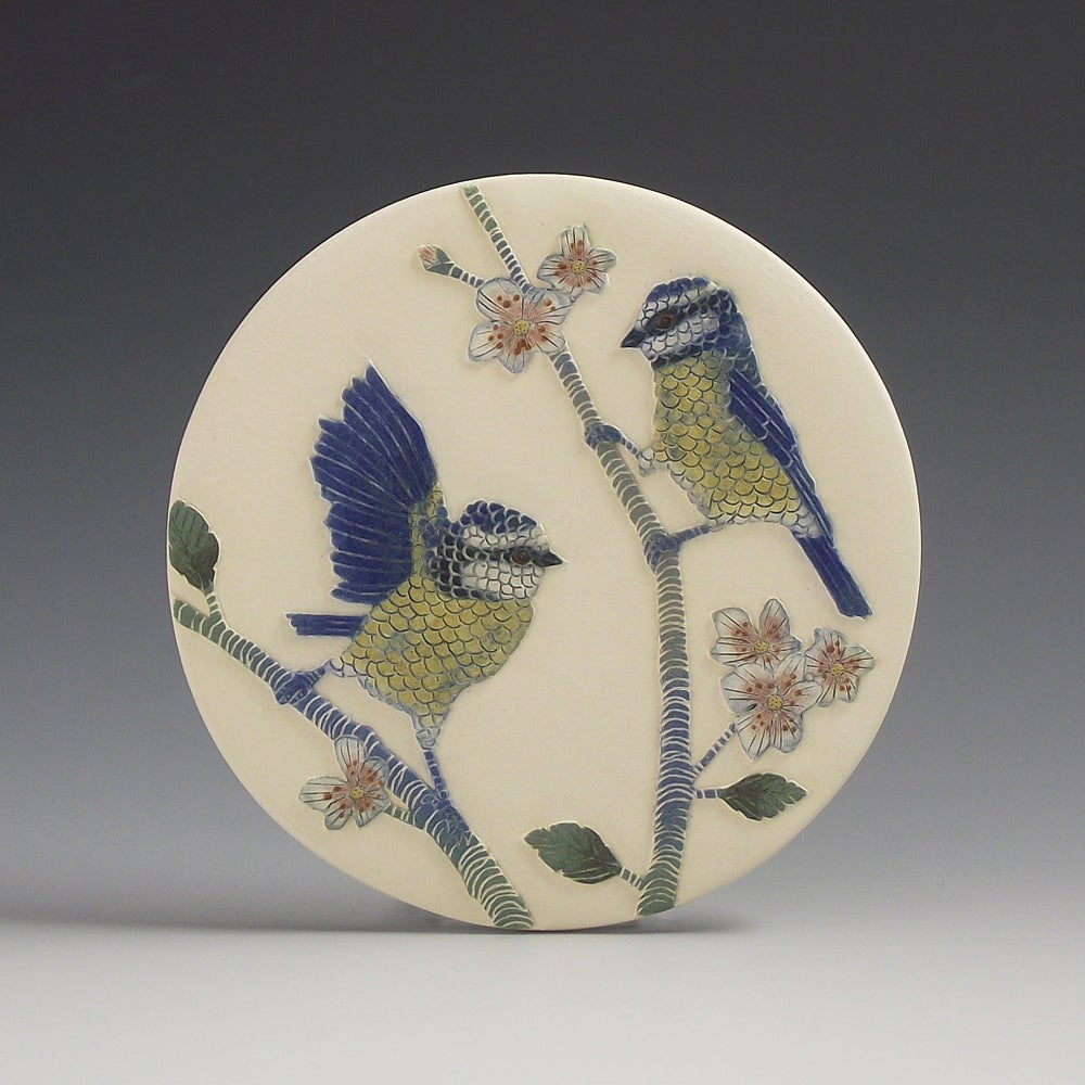 Blue tits & Apple blossom wall hanging