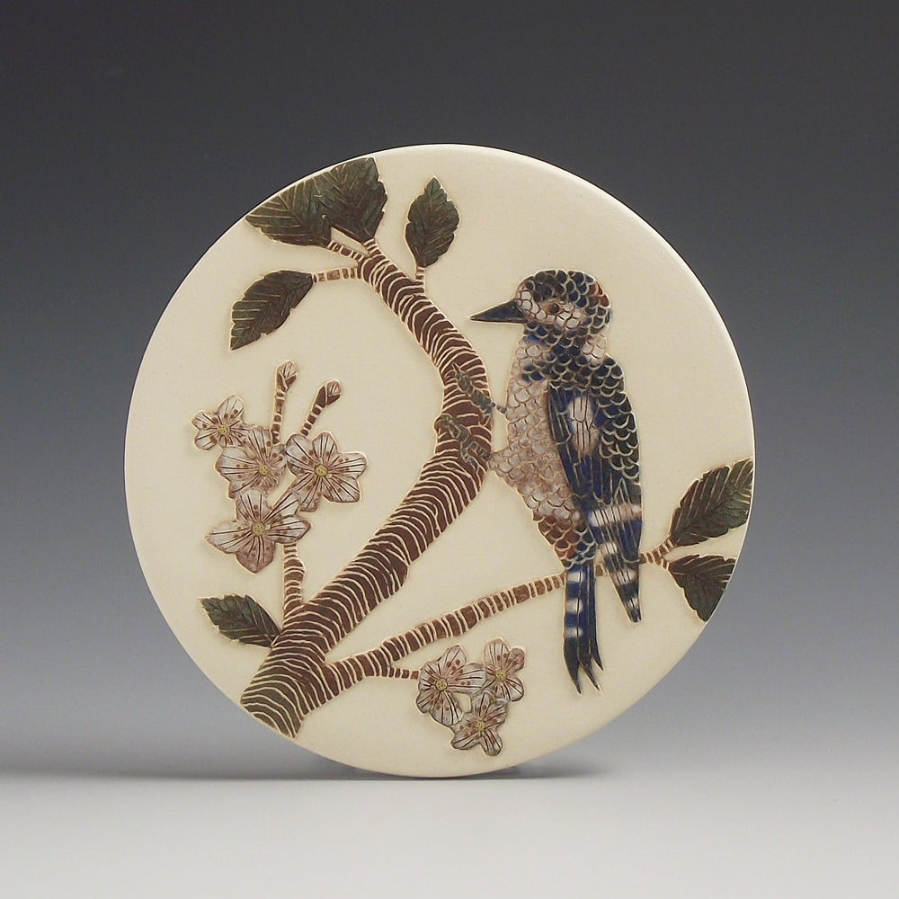 Spotted Woodpecker & blossom wall hanging