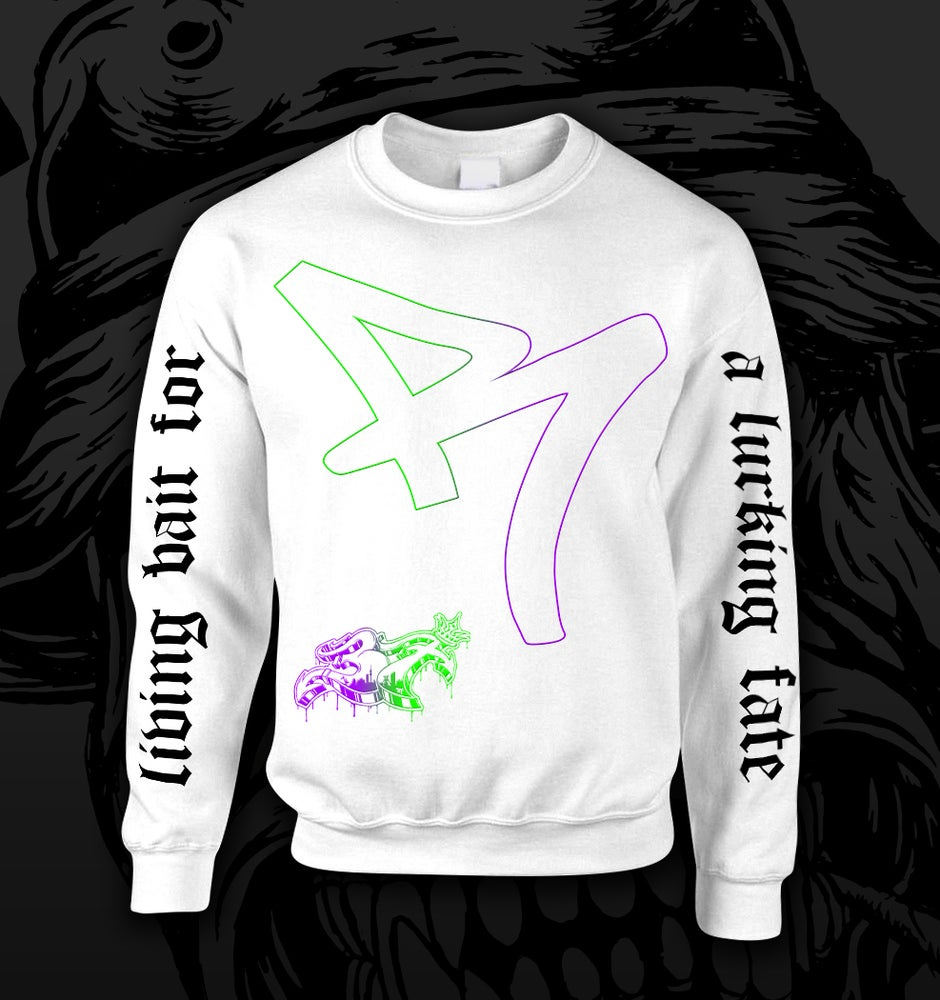 "Image of ""LURKING FATE"" RCNT CREWNECK WHITE"