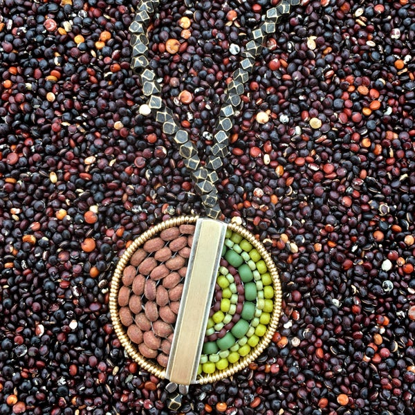 Image of Round Center Bar Pendant in Brown Stone and Beads