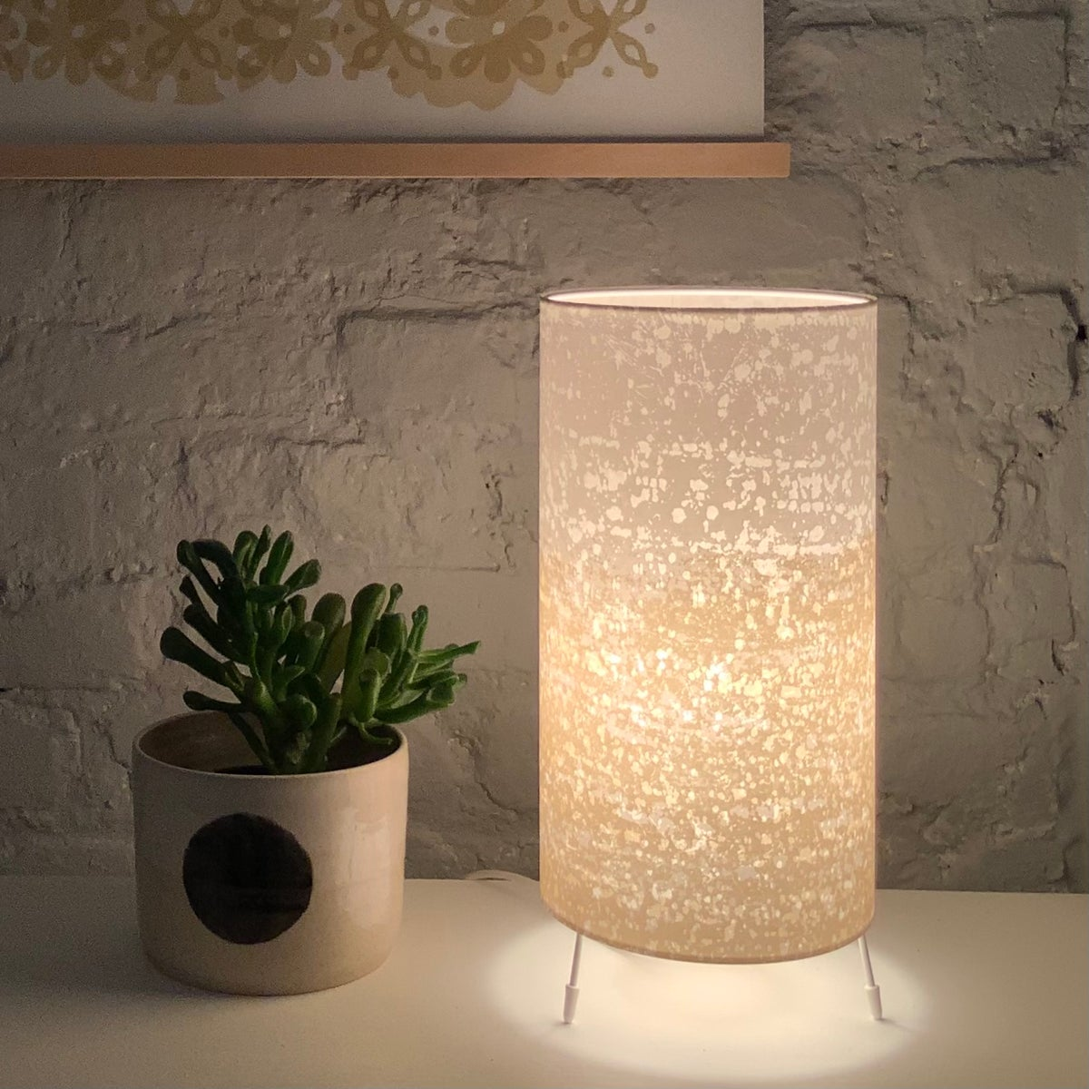 Image of Rain Print Gold Stripe Lamp