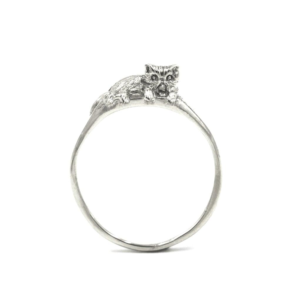 Ponyo Persian Cat Ring Silver