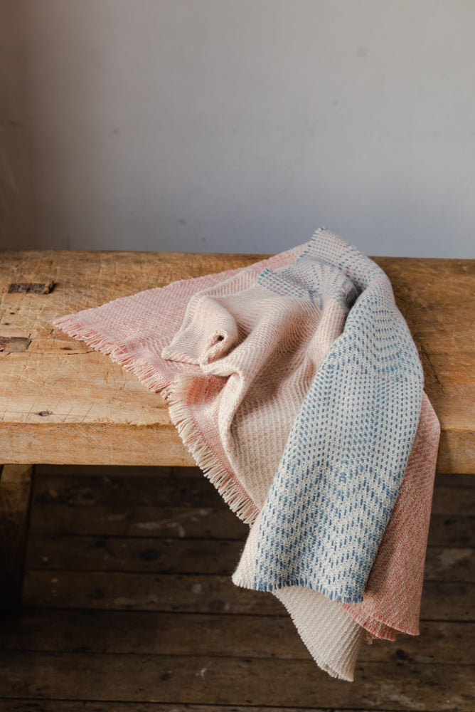 Image of Small sample swatches: Limited edition English Cashmere: Madder + Indigo collection blanket sc