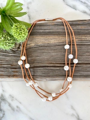 Triple Strand Pearl & Leather Necklace