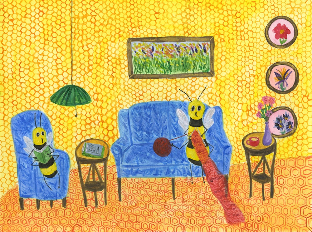 Image of How bees spend their winters. Original painting.
