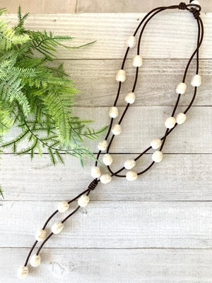 Bliss Pearl & Leather Necklace