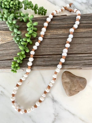 Long Pearl & Leather Necklace
