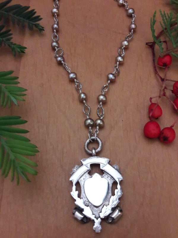 Image of Scroll Fob with freshwater pearls, Item 6AH