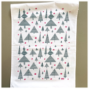 Image of Evergreen Trees and Baubles Kitchen Tea Towel - New!