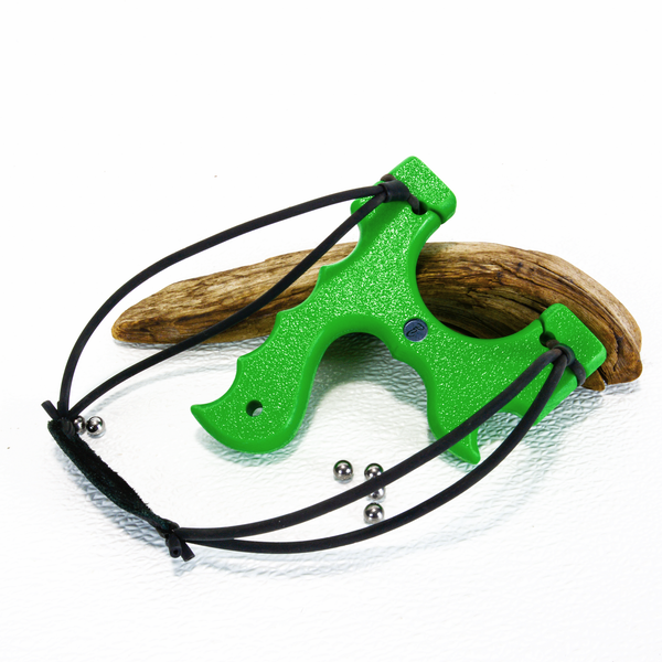 Image of Sling Shot Catapult, Green Textured HDPE, The Menace, Right or Left Handed Shooter, Hunter Gift