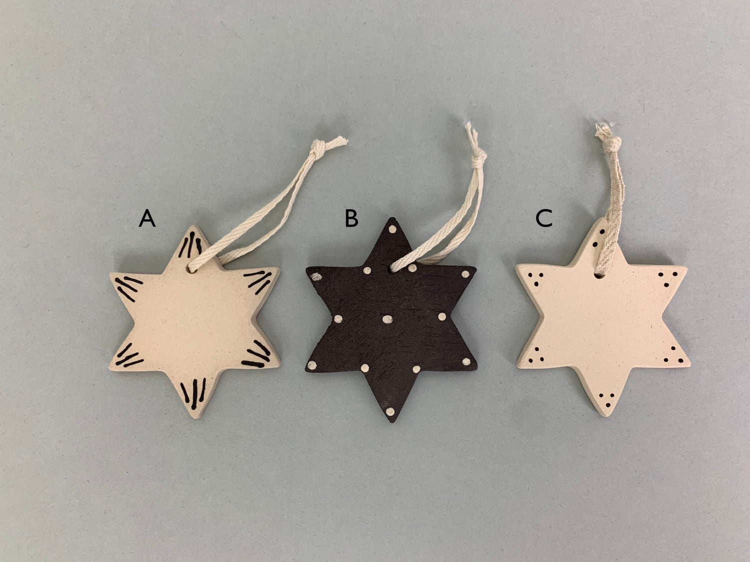 Image of Christmas Star Decorations With Cream Ribbon
