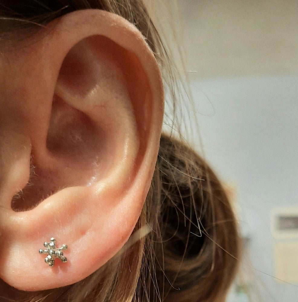 Image of Sterling Silver Small and Medium Dandelion Stud Earrings (sold separately per pair)