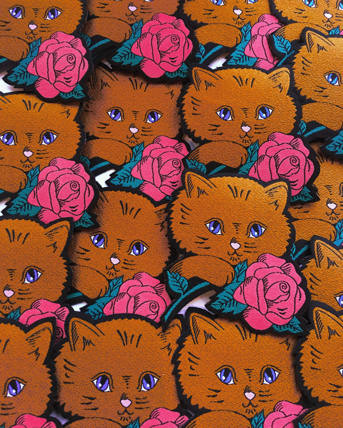 Kitten and Rose iron on patch