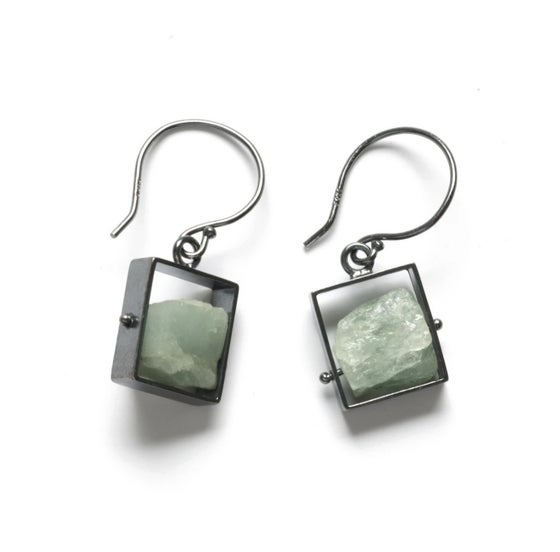 Image of Oxidized Sterling and Raw Aquamarine Earrings