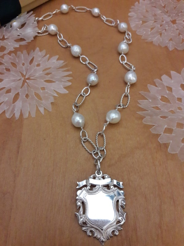 Image of Bright fob necklace, hallmarked 1935