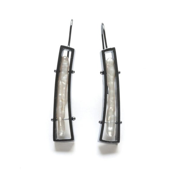 Image of Oxidized Sterling Silver and Stick Pearl Earrings
