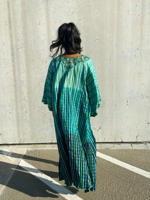 Image of Reconstructed Green Bold Printed Kimono
