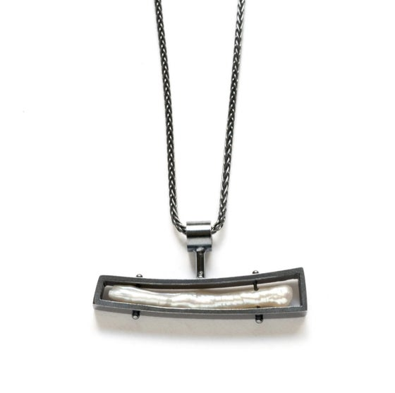 Image of Oxidized Sterling and Stick Pearl Necklace