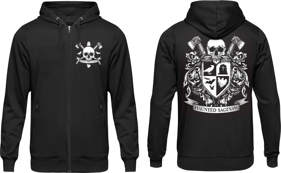 Image of Haunted Saginaw Crest Zip-Up Hooded Sweatshirt [Pre-Order ships by 12/17]