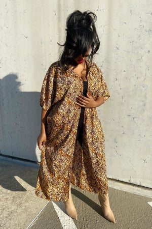 Image of Reconstructed Earth-Tone Printed Kimono