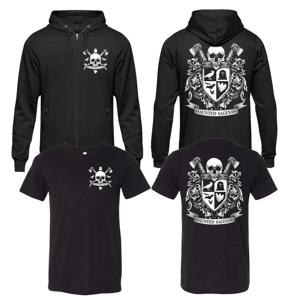 Image of Haunted Saginaw Crest T-shirt and Zip-Up Hoodie Combo