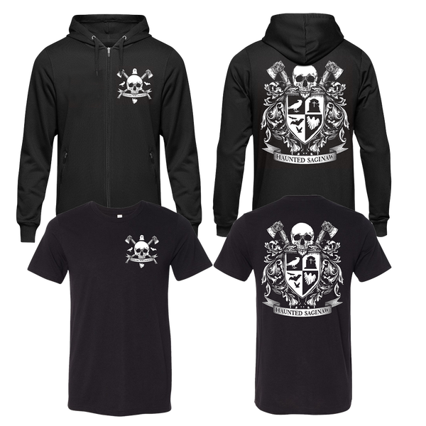 Image of Haunted Saginaw Crest T-shirt and Zip-Up Hoodie Combo [Pre-Order ships by 12/17]