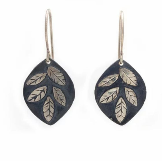 Image of Oxidized Sterling Small Leaf Earrings