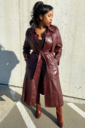 Image of Vintage Burgundy Leather Trench Coat