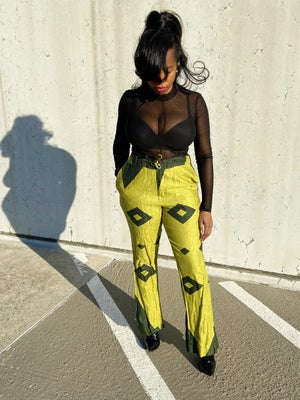 Image of Vintage Printed Drawstring Green Trousers