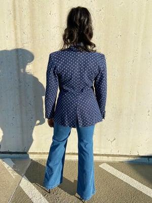 Image of Vintage Polka-Dot Denim Blazer