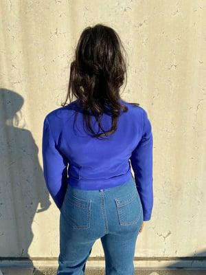 Image of Reconstructed Crop Blue Vintage Blazer
