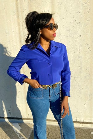 Image of Reconstructed Crop Blue Vintage Blazer