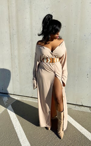 Image of Vintage Oversized Taupe Dress