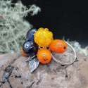 Lampwork Ring with cloudberry and blueberry
