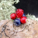 Lampwork Ring with gooseberry and raspberry