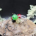 Lampwork Ring with red, white and black currants