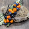 Lampwork necklace with cloudberry and blueberry