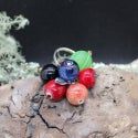 Lampwork Ring with gooseberry and cranberry