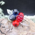 Lampwork Ring with blueberry and raspberry