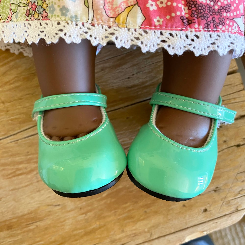 Image of Shoes to suit 38cm Miniland doll - Green patent