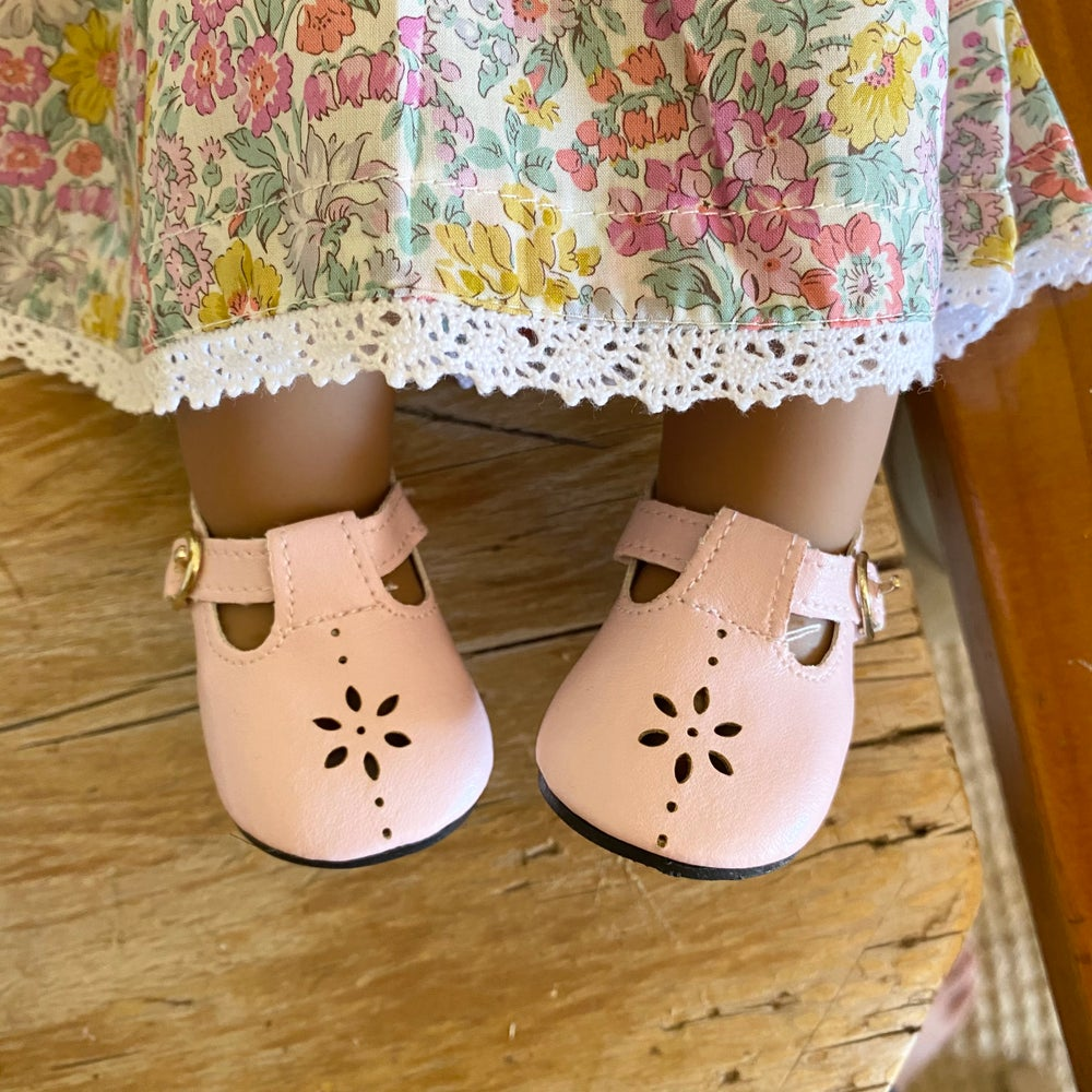 Image of Shoes to suit 38cm Miniland doll - pink T-Bars
