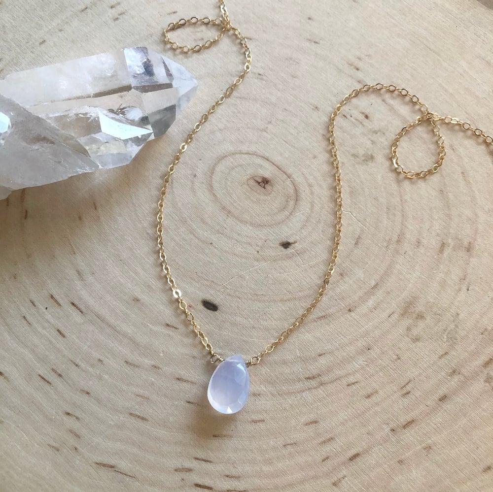 Image of Mini Chalcedony teardrop necklace