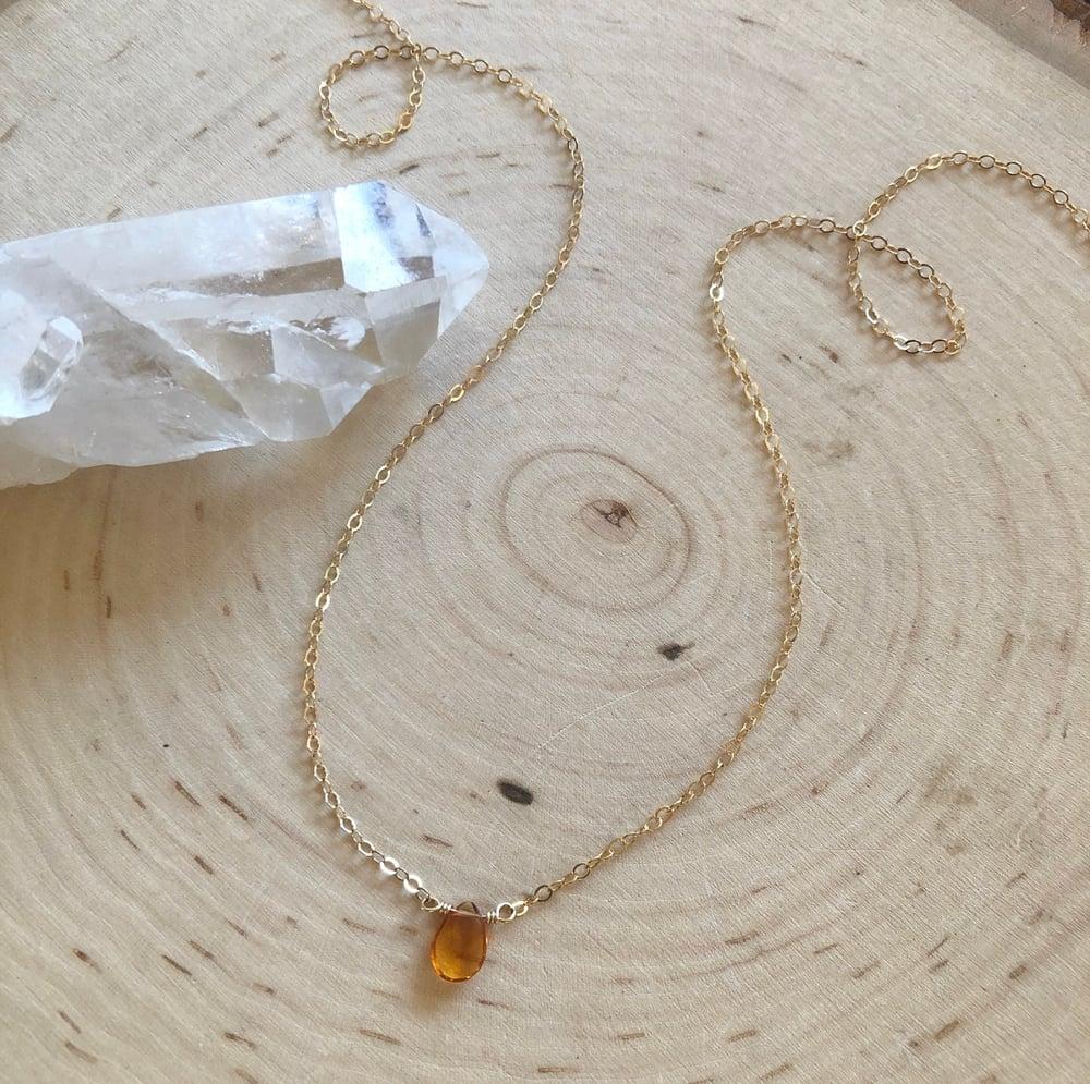 Image of Mini Citrine teardrop necklace