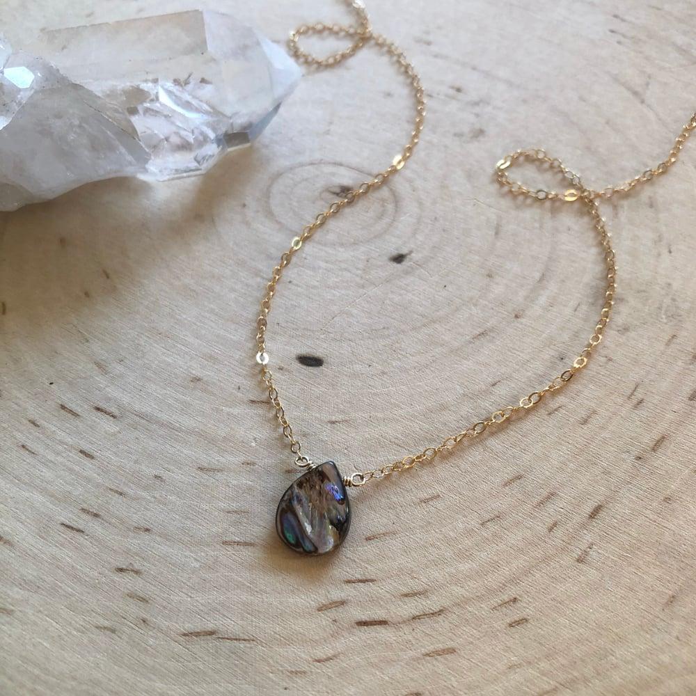 Image of Abalone teardrop necklace