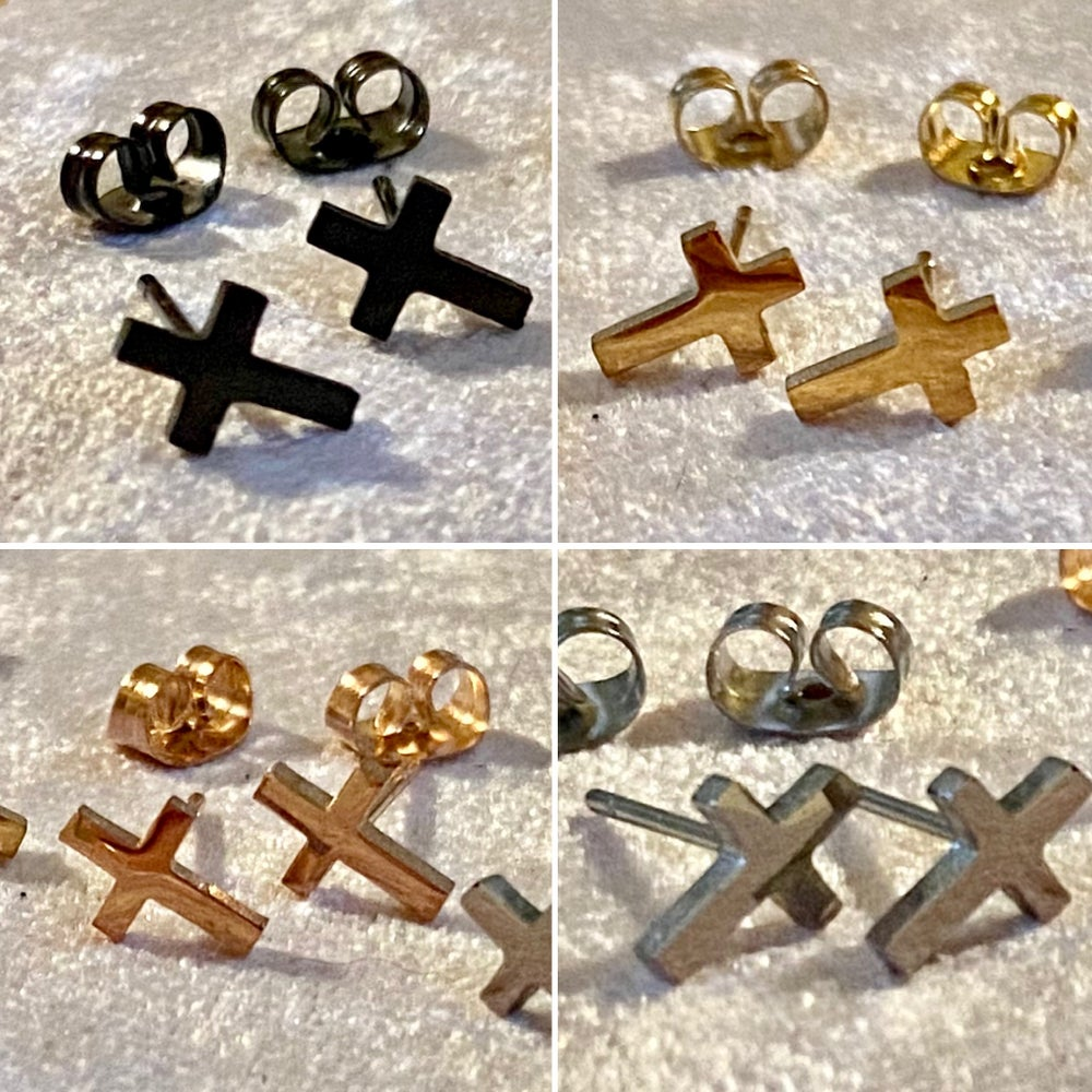 Itty Bitty Cross Earrings (4 Colors)