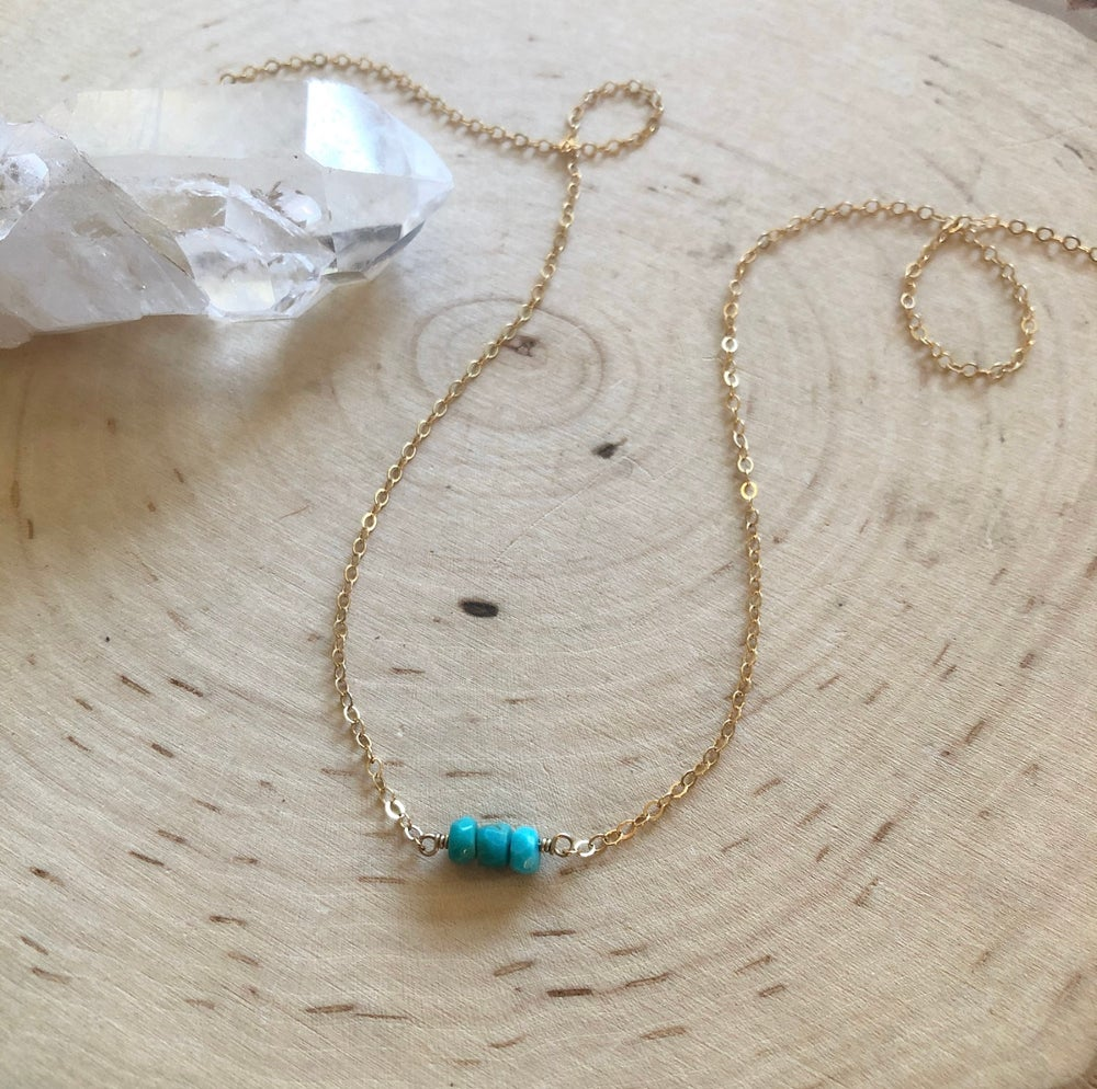 Image of Mini Turquoise Three Bead Trinity Necklace