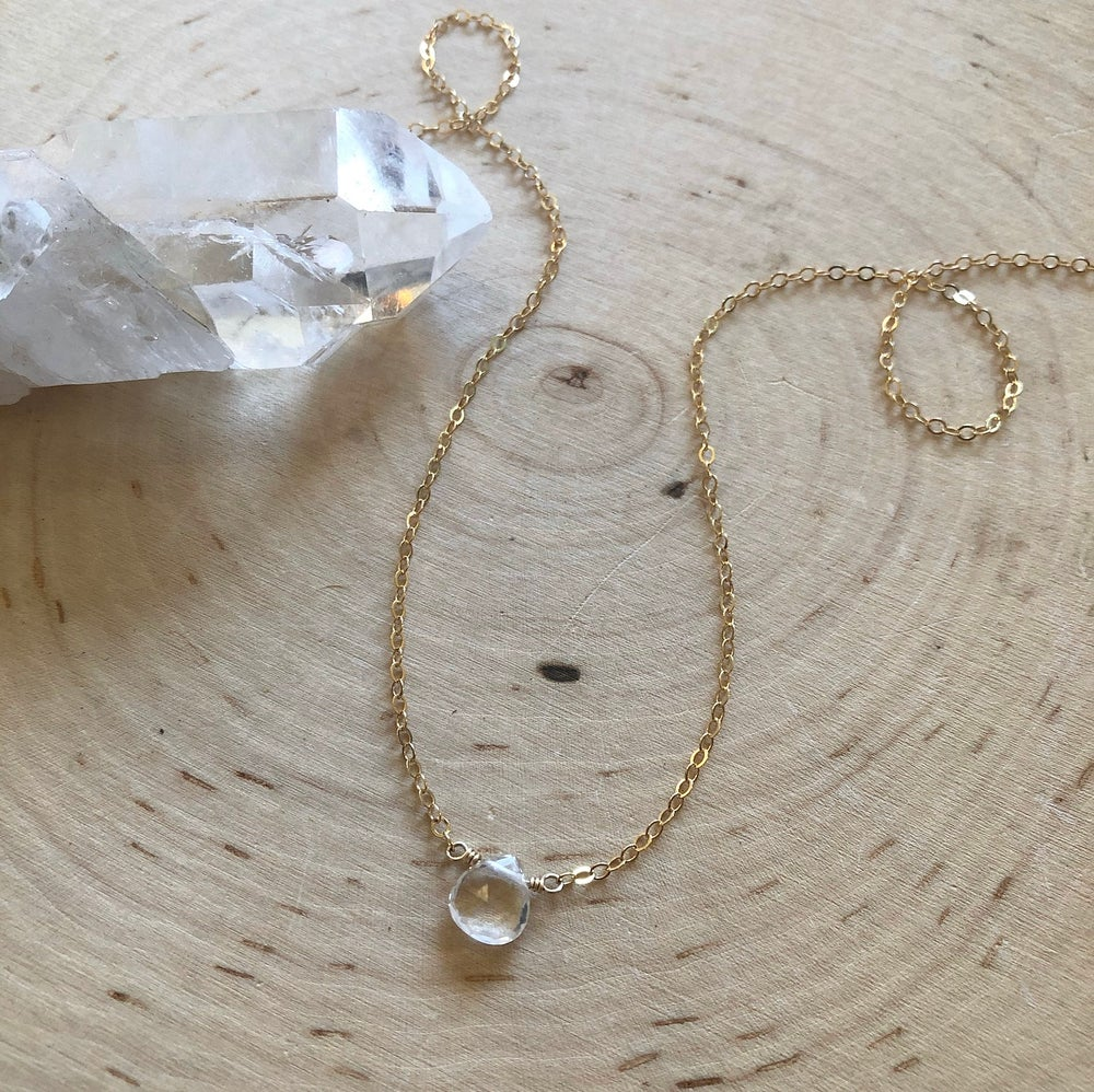 Image of Mini Clear Quartz teardrop necklace