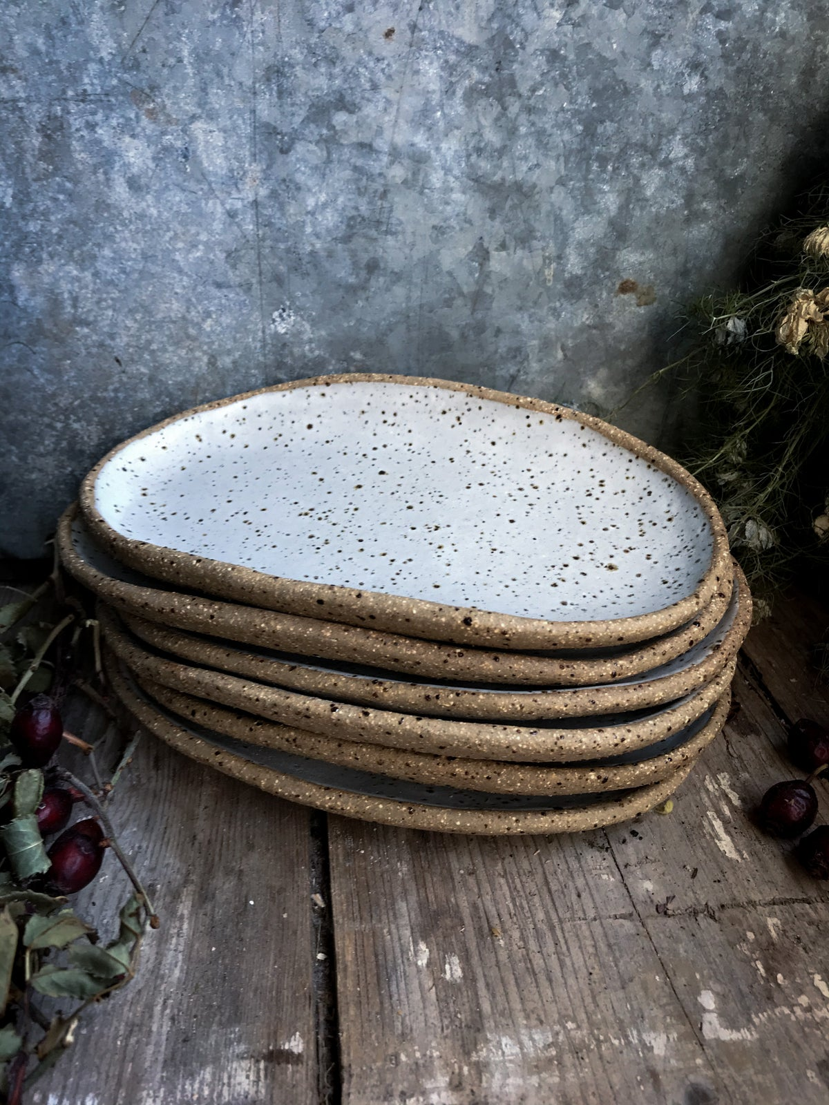 Image of PRE-ORDER White speckled oval side plate