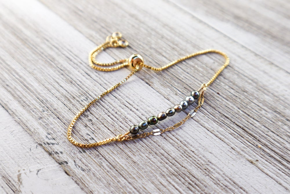 Image of Blue & Grey Keshi Adjustable Bracelet (with accent chain)